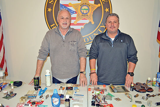 "Operation: Street Smart Sgt. Michael Powell (left) and Capt. Shawn Bain shared their ""street smarts"" Times photo/Dan Robinson regarding drug and alcohol abuse with about 80 area educators, counselors and community leaders during a session Monday at the Jacob Parrott Safety Center."