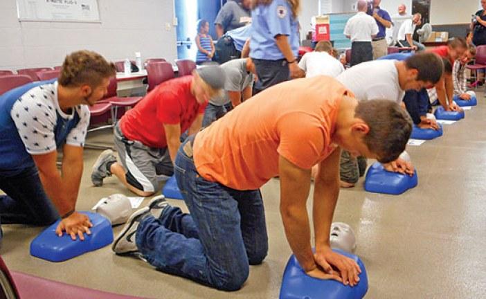 USV football players get life-saving CPR training