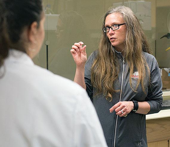 Katherine Krynak in lab at ONU