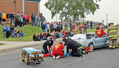 Mock crash scene