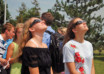 Girls observe solar eclipse