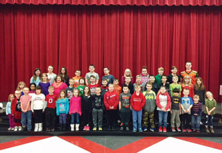Monthly leadership award recipients at Kenton Elementary School