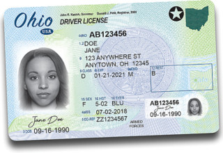 Sample of Ohio's new driver's license
