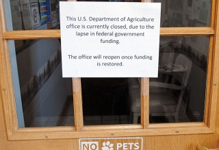 Sign advises USDA patrons of the Kenton office's closing