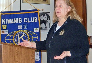 Karen Kier speaks to Ada Kiwanis Club