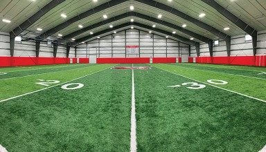 A panoramic view of the 50-yard artificial turf field in the Kenton Athletic Fieldhouse