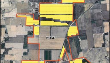 Yellow areas mark Phase II of Hardin Soil Energy Center