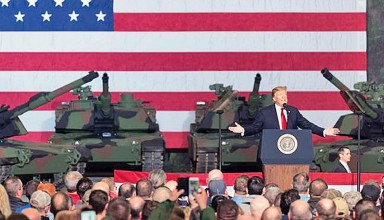President Donald Trump at Army Tank Plant in Lima on Wednesday